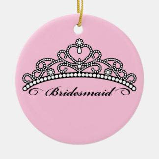 Bridesmaid Tiara Ornament (pink background)