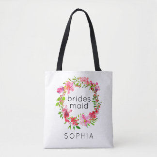 Bridesmaid Tote Bag Customizable Floral Wreath