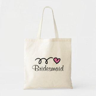 Bridesmaid tote bag with cute heart