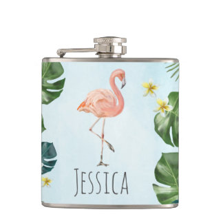 Bridesmaid. Tropical Wedding. Flamingo Hip Flask