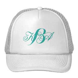 bridesmaid  turquoise  green ombre monograms cap