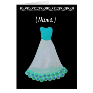 Bridesmaid TURQUOISE & WHITE Gown & Flowered Trim Greeting Card