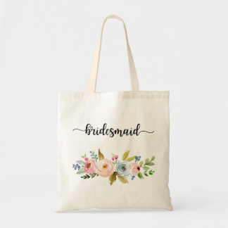 Bridesmaid Watercolor Floral Tote Bag