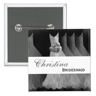 Bridesmaid Wedding Button - SILVER Gowns