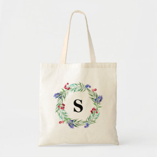 Bridesmaid wedding canvas bag Floral wreath