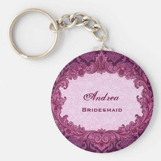 Bridesmaid Wedding Favor Bordeaux Pink Damask G300 Key Chains