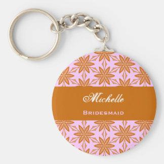 Bridesmaid Wedding Favor Gold Pink Flowers V043 Key Ring