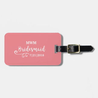 Bridesmaid Wedding Favor Name or Monogram Script Luggage Tag