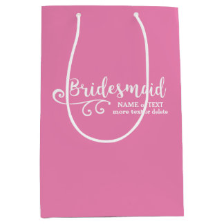 Bridesmaid Wedding Favor Name or Monogram Script Medium Gift Bag