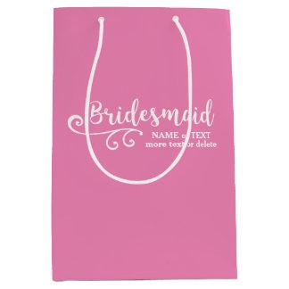 Bridesmaid Wedding Favor Name or Monogram Script Medium Gift Bag