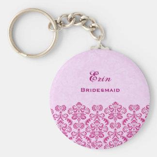 Bridesmaid Wedding Favor Pink Damask Lace B025 Basic Round Button Key Ring