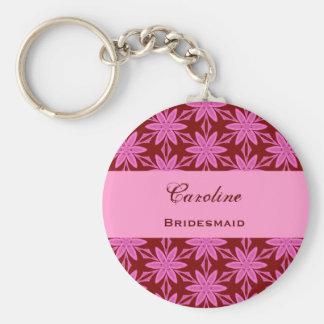 Bridesmaid Wedding Favor Pink Flowers V0448 Key Ring