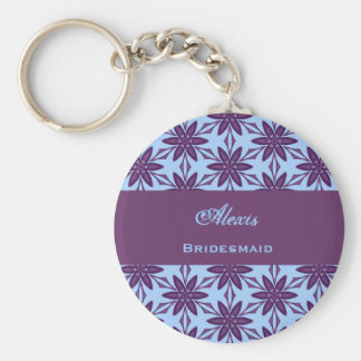 Bridesmaid Wedding Favor Purple Star Flowers V007 Basic Round Button Key Ring