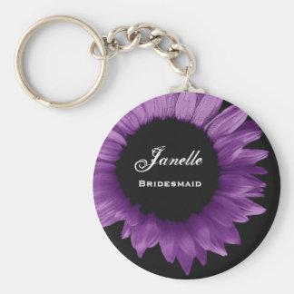 Bridesmaid Wedding Favor Purple Sunflower B035 Key Ring