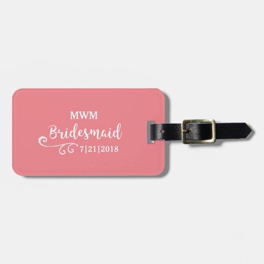 Bridesmaid Wedding Favour Name or Monogram Script Luggage