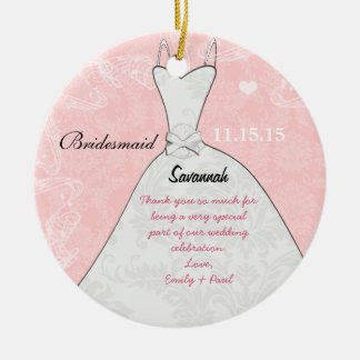 Bridesmaid Wedding Ornament Dress Pink Damask