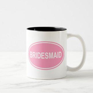 Bridesmaid Wedding Oval Pink Two-Tone Coffee Mug