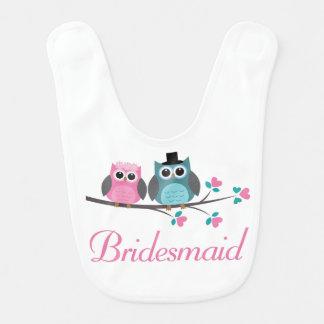 Bridesmaid Wedding owls Baby Bib