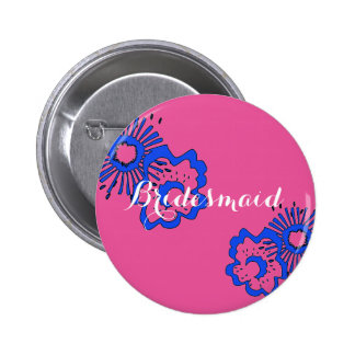 Bridesmaid Wedding Party Pin - Spring Theme Favors 2 Inch Round Button