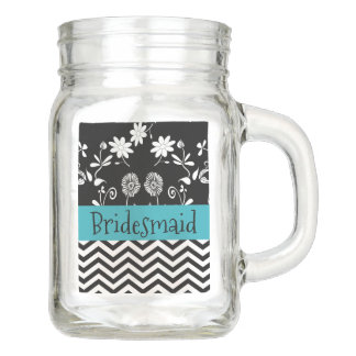 Bridesmaid Wedding party Thank You Glass Mason Jar