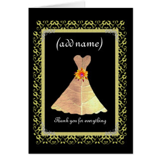 BRIDESMAID Wedding Thank You - Gold Gown Lace Trim Card