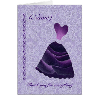BRIDESMAID Wedding Thank You - PURPLE Gown S341 Greeting Card