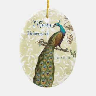 Bridesmaid White Distressed Damask Vintage Peacock Christmas Ornament