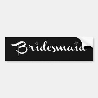 Bridesmaid White on Black Bumper Stickers