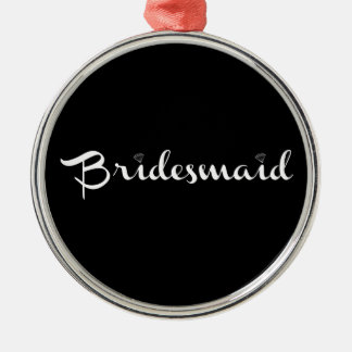 Bridesmaid White on Black Silver-Colored Round Decoration