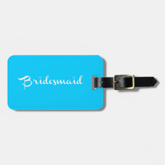 Bridesmaid White on Light Blue Luggage Tag
