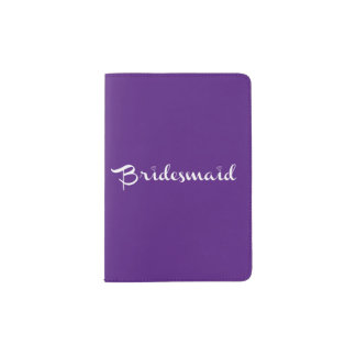 Bridesmaid White On Purple Passport Holder