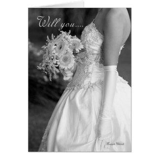 Bridesmaid, will you be my bridesmaid black and wh greeting card