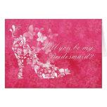 Bridesmaid, will you be my Bridesmaid pink and whi Greeting Card