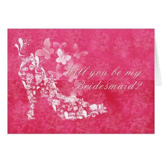 Bridesmaid, will you be my Bridesmaid pink and whi Card