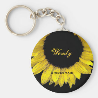 Bridesmaid Yellow Sunflower  E050 Key Ring