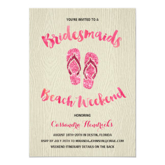 Bridesmaids Beach Weekend with Pink Faux Glitter 13 Cm X 18 Cm Invitation Card