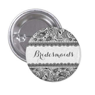 BridesMaids Black And White Lace 3 Cm Round Badge