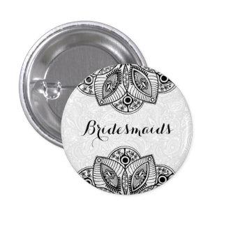 BridesMaids Black Lace White Background 3 Cm Round Badge