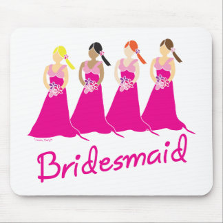 Bridesmaids in Pink Wedding Attendant Mouse Pads