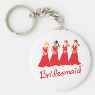 Bridesmaids in Red Wedding Attendant Basic Round Button Key Ring