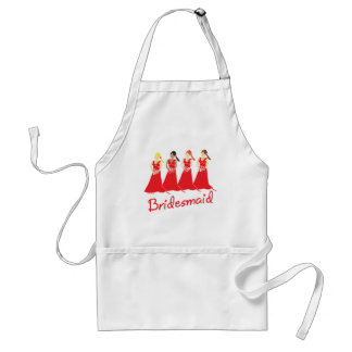 Bridesmaids in Red Wedding Attendant Standard Apron