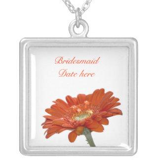 Bridesmaids Necklace - Orange Daisy Gerbra