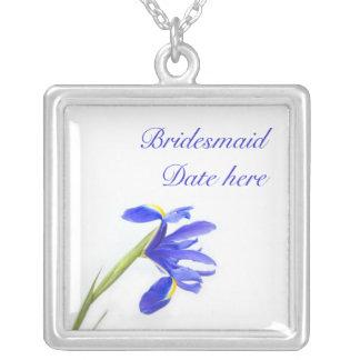 Bridesmaids Necklace - Purple Iris Flower