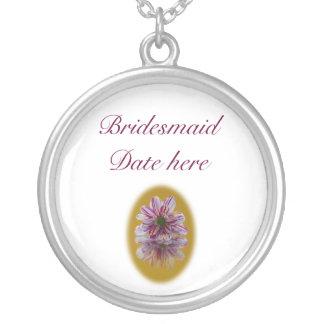 Bridesmaids Necklace - Striped Daisy Gerbra pink
