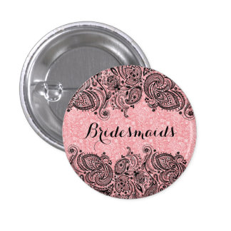 BridesMaids Pink And Black Paisley Lace 3 Cm Round Badge