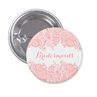 BridesMaids Pink Lace White Background 3 Cm Round Badge