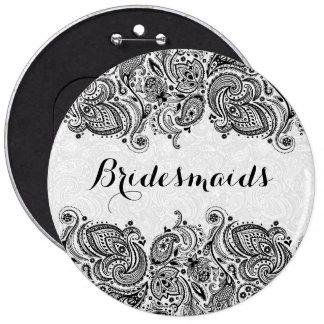 BridesMaids White & Black Paisley Lace 6 Cm Round Badge