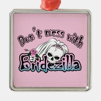Bridezilla Skull Silver-Colored Square Decoration