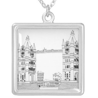 Bridge Amid Sea Silver Plated Necklace