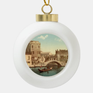 Bridge and Canal, Venice, Italy Ceramic Ball Christmas Ornament